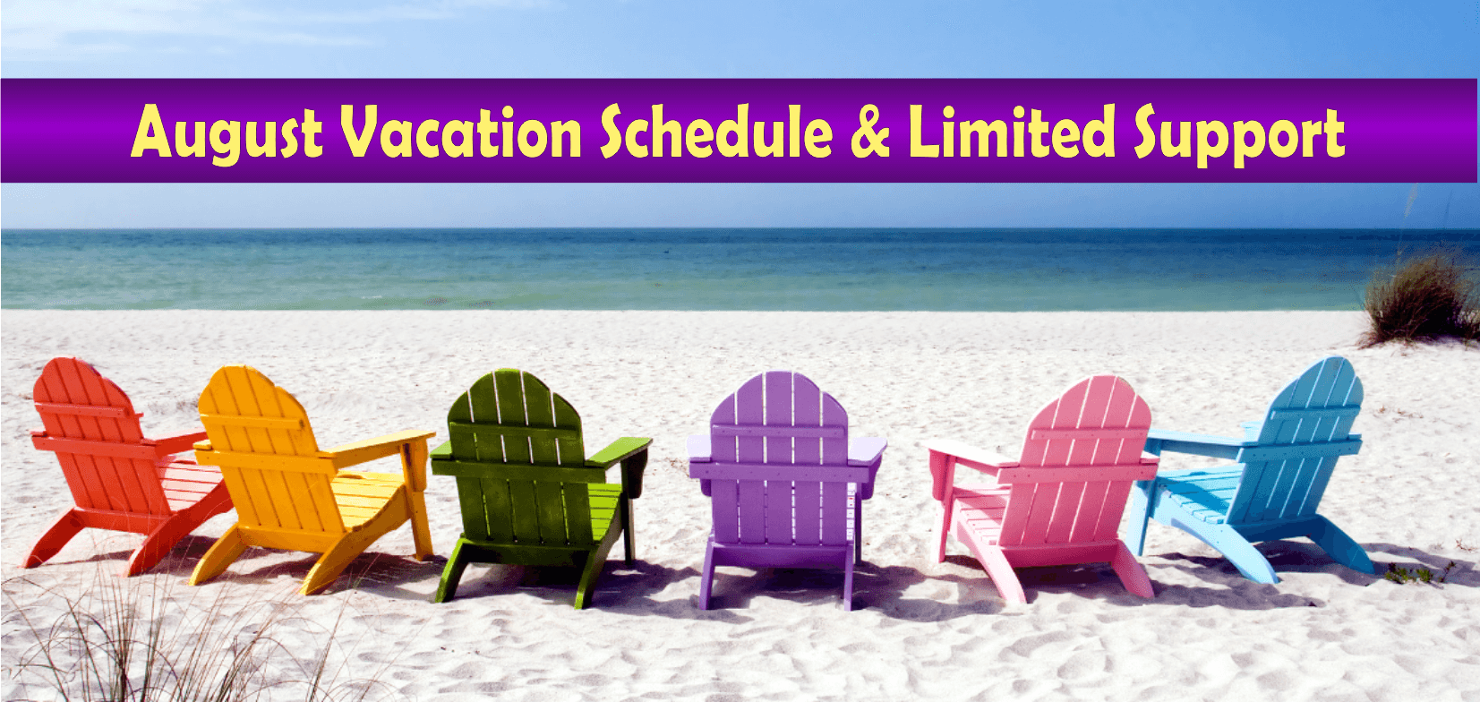 August Vacation Schedule and Limited Support at PCCCA Christian Coaching and Counseling Academy http://pccca.org