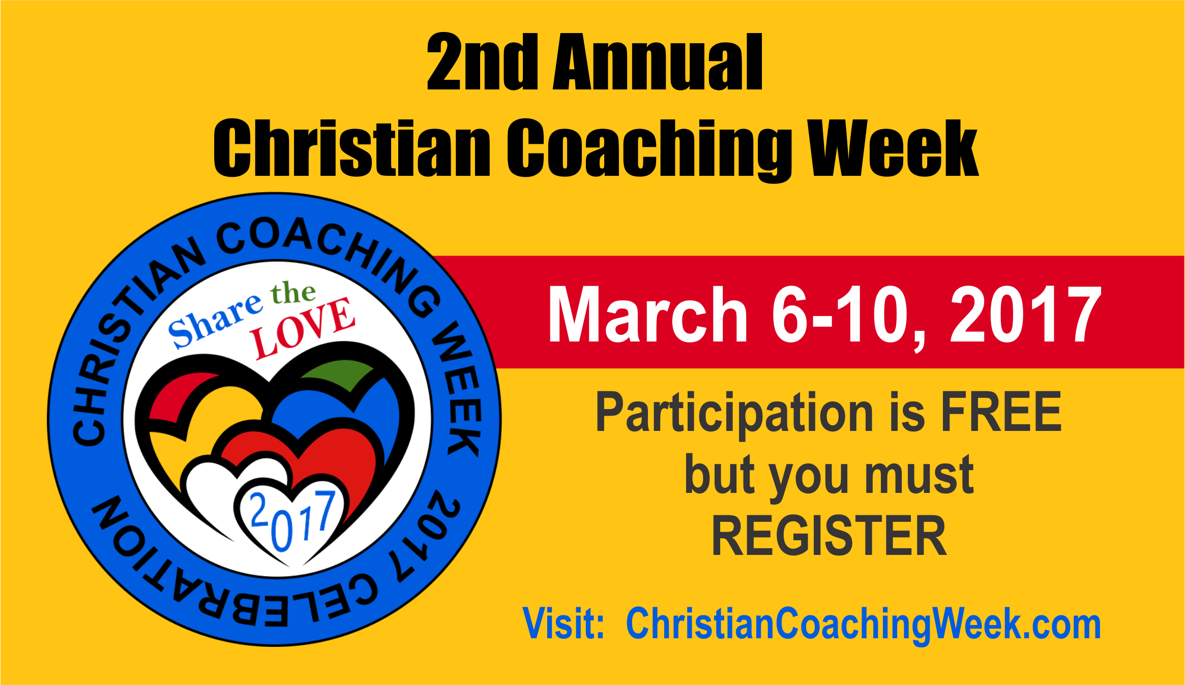 second annual Christian coaching week - participate free http://pccca.org