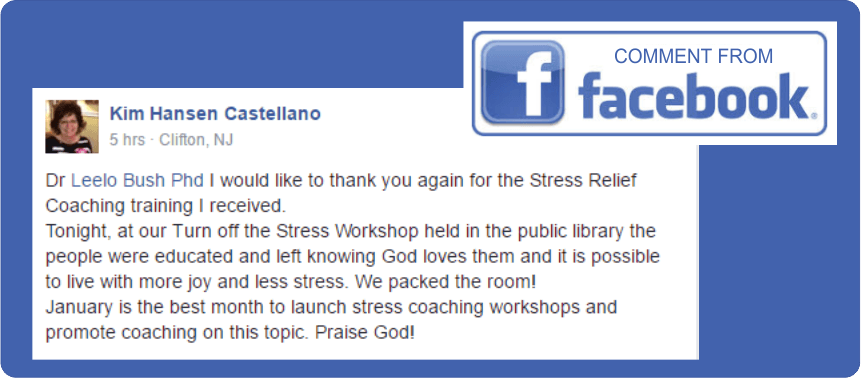 Stress Relief Comment from Facebook Jan 2017